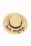 "Wide Brim Natural Color Straw Hat W/ ""Bon Voyage"" Saying In Black Cursive"