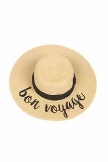 "Wide Brim Natural Color Straw Hat W/ ""Bon Voyage"" Saying In Black Cursive"