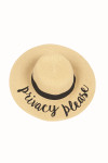 "Wide Brim Natural Color Straw Hat W/ ""Privacy Please"" Saying In Black Cursive"