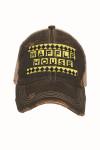 Waffle House Baseball Hat Distressed Brim Yellow & Black Font Logo