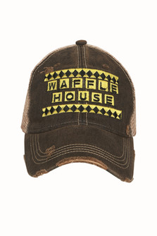 Waffle House Baseball Hat Distressed Brim Yellow & Black Font Logo