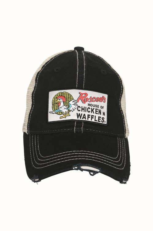 Roscoe's House of Chicken N Waffles Logo Trucker Hat Black Distressed Brim Adjustable snap back