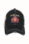 Black Stroh's Logo Trucker Hat Adjustable Back Vintage-Style Distressing at Brim