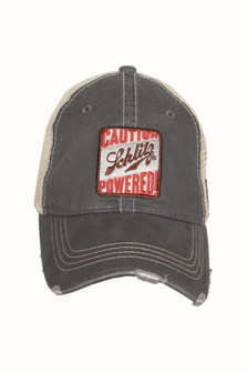 Grey Schlitz Trucker Hat Vintage-Style distressing at brim Schlitz Logo at Front Adjustable snap back