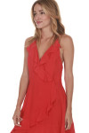 Up All Night Red Dress Ruffled Surplice Front Faux Wrap Front 100% Rayon