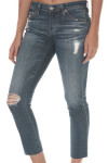 Stilt Cropped Denim Pants Low rise distressed at front & knee