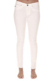 White Jeggings  faux front pockets ankle length with unfinished hemline
