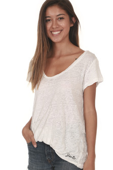 Dry Wash Scoop Neck Tee in White lightweight material loose fit