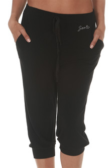 Black Belmont Capri Jogger super soft material elastic waistband with drawstring