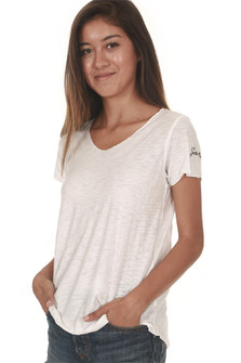 White Lynwood Scoop Neck Tee basic tee fit exposed side seams