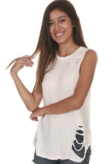 Ackerly Embroidered Muscle Flare Tank purposed holes all over color: white