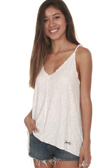 White Morgan Twisted Strap Hi-Lo Tank Slight V-Neckline Flowy fit