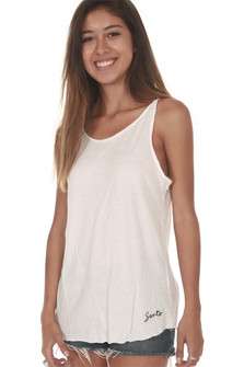 White Decatur Flare Twist Tank Top purposed twisted straps
