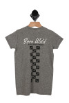 "Skull Helmet Racing Tee in heather grey graphic shows ""BORN WILD, OLD SCHOOL RIDERS!"" print at back with line of checkers down back of tee"