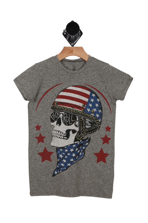 Skull Helmet Racing Tee in heather grey graphic shows skull with american flag helmet and blue and white star bandana around neck with rock & roll sunglasses