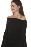side of Birds Of paradise Top in black off the shoulder fit with extra large flared sleeves fitted body