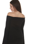 back of Birds Of paradise Top in black off the shoulder fit with extra large flared sleeves fitted body