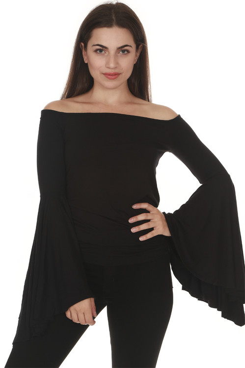 front of Birds Of paradise Top in black off the shoulder fit with extra large flared sleeves fitted body