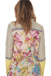 Contrasting floral print at back with embroidered details
