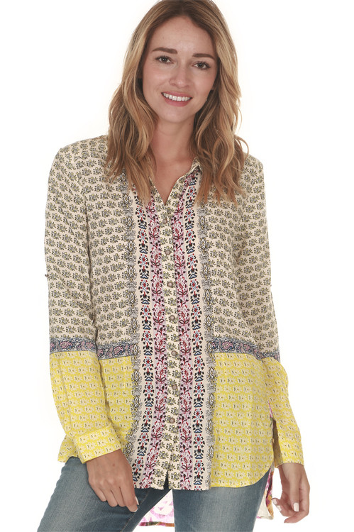 Dream Button Up Long Sleeve Blouse Contrasting Paisley prints at Front