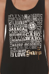 Viva Mexico Tank in black looser fit graphic at front shows all different Mexico cities with Santo logo in gold foil