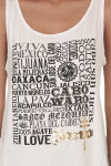 Viva Mexico Tank in white looser fit graphic at front shows all different Mexico cities with Santo logo in gold foil