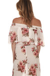 Miranda Maxi Dress in White Gather Chiffon material features a white chiffon overlay with pink flowers all over high side slit elastic off the shoulder band at top
