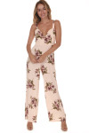 Ariel Jumper in Blush Gardening  print features light pink background with dark pink roses all over wide legs