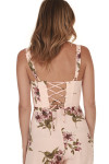 Ariel Jumper in Blush Gardening  print features light pink background with dark pink roses all over lace up back
