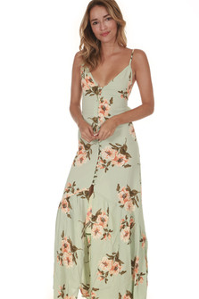 Unbutton Me Maxi Dress in Mint Gatherings print features mint background with orange flowers all over slight high-low hemline buttons all the way up front