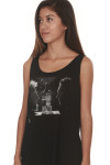 Face To Face Tank in black looser fit with tank sleeves features graphic of Sammy Hagar & Adam Levine facing each other with Santo Mezquila bottle in middle