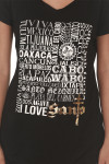 Viva Mexico Tee in Black looser fit with short sleeves feature graphic at front with list of popular beaches in Mexico with Santo logo in gold