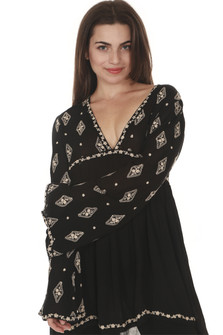 Front of Diamond Embroidered L/S Tunic Blouse in black with ivory embroidery detailing v-neckline, looser fit