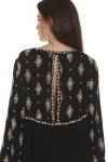 back of Diamond Embroidered L/S Tunic Blouse in black with ivory embroidery detailing v-neckline, looser fit