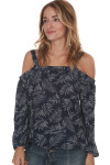 Off the shoulder blouse with bottom tie in Theo pattern features navy background with speckled palm leaves elastic band at top drawstring bottom hemline for details call toll free 855-597-0313
