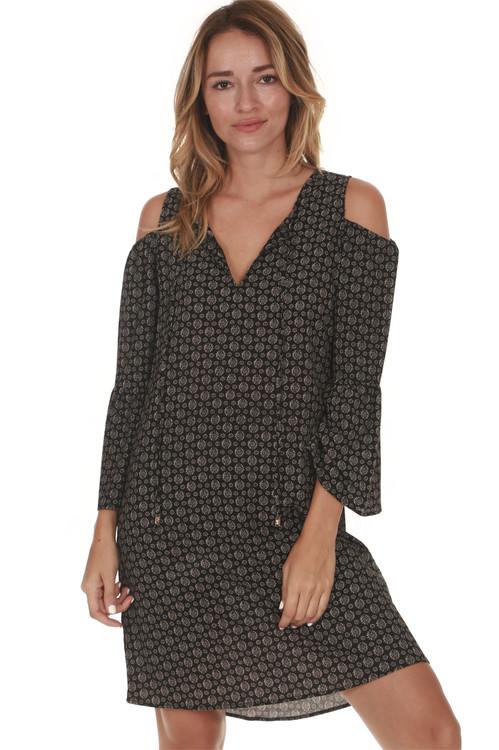 Cold Shoulder Flare Sleeve Dress in Sorrento (black & ivory) print
