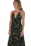 Pages Of Gold Maxi Dress in Black Combo material print features a black background with green, teal & blue flowers all over crochet detailing at bust line and bottom ruffle fully lined