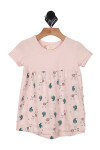 Thundercat Dress in pink pink top with rolled short sleeves and cactus with llama print on pink background on bottom skirt