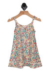 Dancing In The Sun Dress in Aztec & floral print adjustable straps, button up front & little crochet detailing at bottom