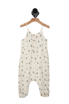 We Go Together Romper in Ivory with cactus print all over features button up front, side pockets & adjustable straps drop-crotch fit & elastic hemline at ankles
