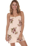 Summer Slip Dress in Blush Gathering super mini hemline print features light pink background with darker pink flowers all over adjustable straps for details call toll free 855-597-0313