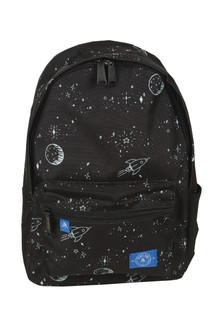 The Edison Backpack in Space Dreams pattern features space-like scene on black background front zip pocket