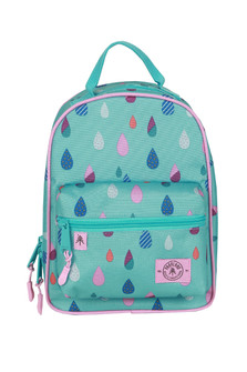 The Rodeo Lunch Kit in  Puddles pattern features colorful raindrops on teal background front zip snack pocket main zipper for lunch