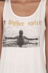 """A Higher Spirit Tank in white looser fit """"A higher spirit"""" logo at front in gold foil with girl in water graphic"""