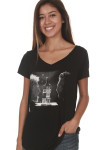 Face To Face Tee in black looser fit v-neckline graphic of Sammy Hagar & Adam Levine facing off with Santo Mezquila bottle in middle