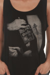 Sammy's Tattoo Tank in black looser fit graphic shows Sammy Hagar with Santo Mezquila bottle and tattoo of Santo cross