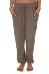 "Embroidered Santo Jogger Pants in Brown elastic wiastband with drawstring embroidered ""Santo"" logo at upper left thigh"