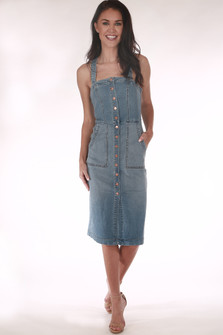 Claire Denim Snap Dress super stretchy & soft denim material full-front snap closure adjustable button straps
