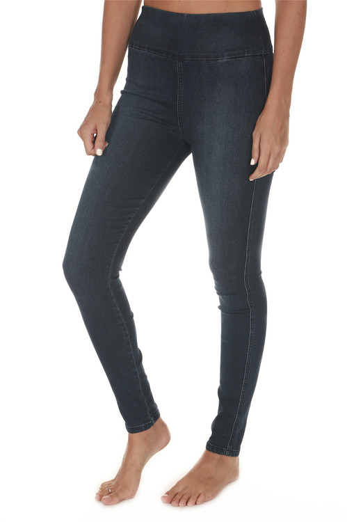 Devon Pull On Skinny Jeggings in Rebel dark blue denim