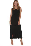 front of Hi-Lo Tank Dress with Ruffled bottom in black